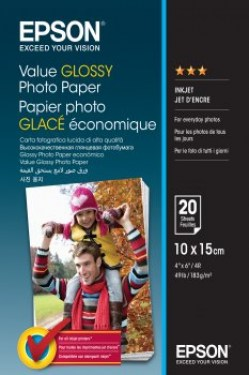Papir: EPSON Value Glossy Photo Paper 10x15cm 20 sheets C13S400037