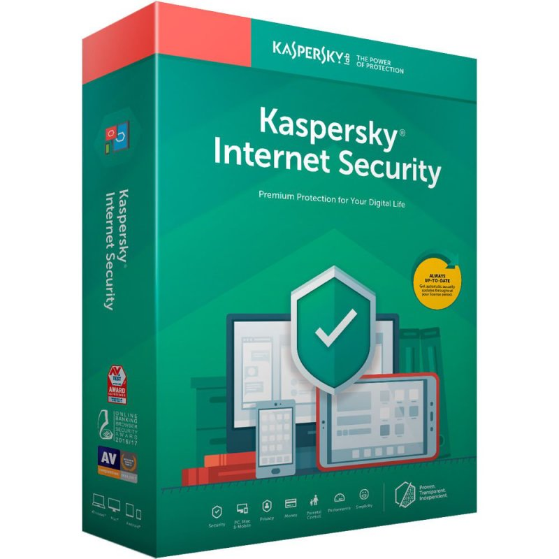 Antivirusni softver: Kaspersky Internet Security 2019 1dev 1Y Base Box KL1941X5AFS(9)